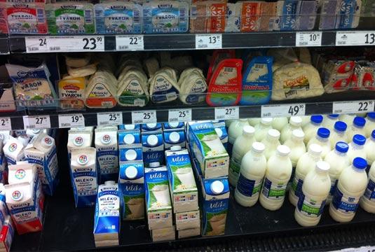 Цены на молочные продукты в Чехии
