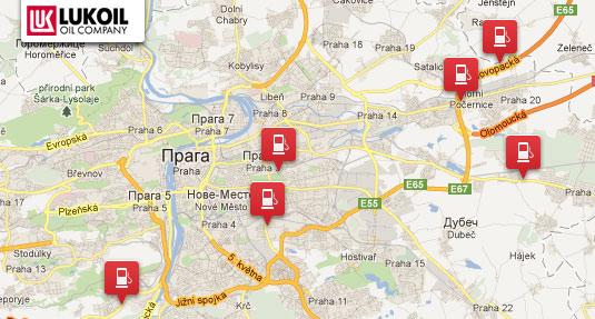 Карта заправок Lukoil в Праге